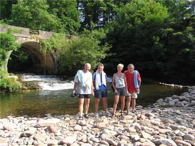 John, Paul, Sonja and David after a dip in the river near Arizkun