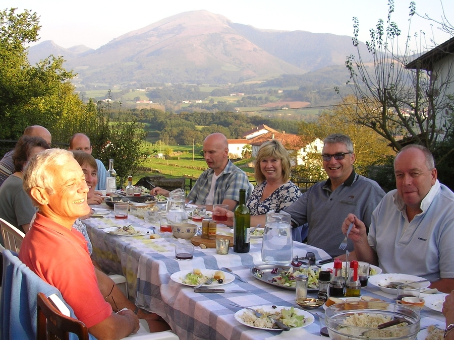 Spanish dinner on the terrace in Azpilikueta