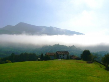 The Baztan Valley: Mists over the village of Amaiur.