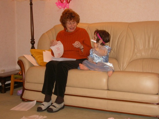 My Basque/Spanish daughter, Marion, learning English with my mother at Christmas