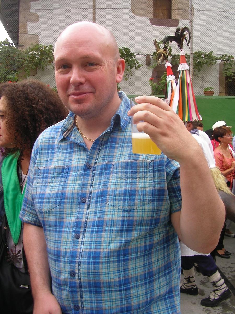 Cider drinking at the mushroom fiestas in Elgorriaga