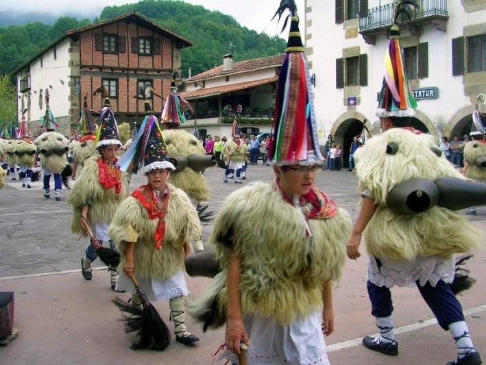 The Joaldunak in the plaza outside our Basque village school in Ituren
