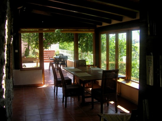 The dining room and conservatory at Iaulin Borda