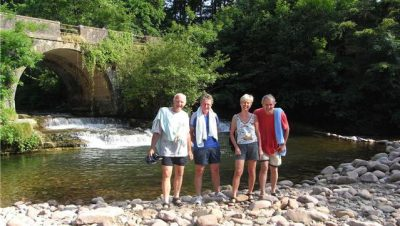John, Paul, Sonja and David after a dip in the river near Arizkun