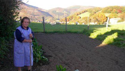 Amatxi in the vegetable garden of Zubialdea in Ameztia