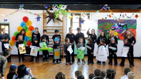 Basque, Spanish and English songs at our Christmas party at our Ituren village school