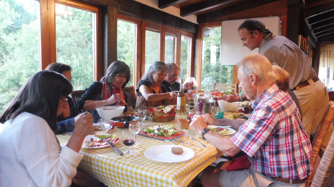 Walking in the Basque Country - dinner at the farmhouse