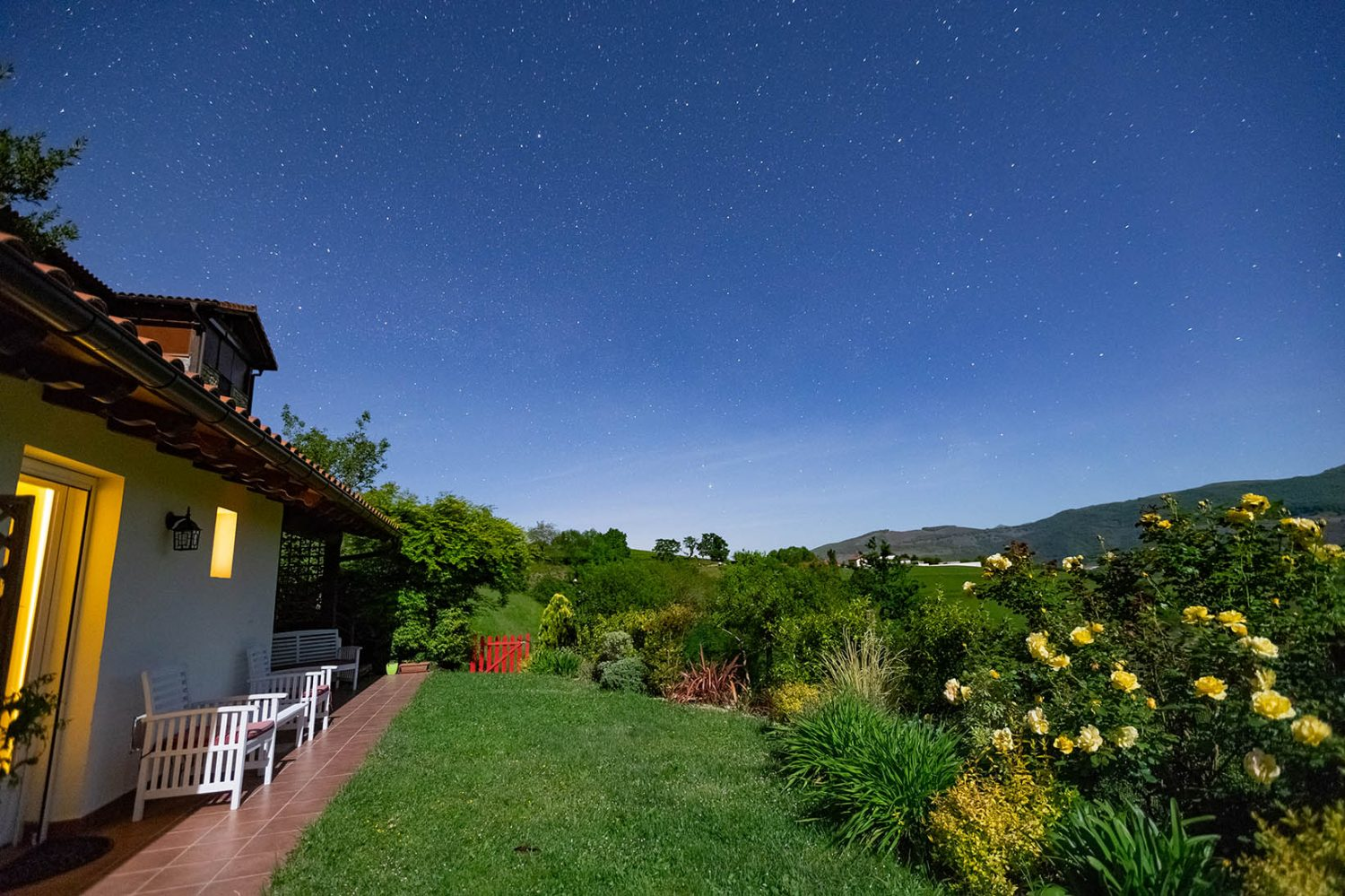 Pyrenean Experience farmhouse at night