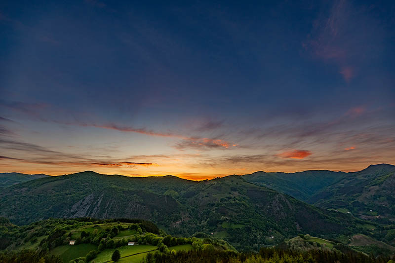 Pyrenean Experience sunset over the mountains on our Basque Country walks