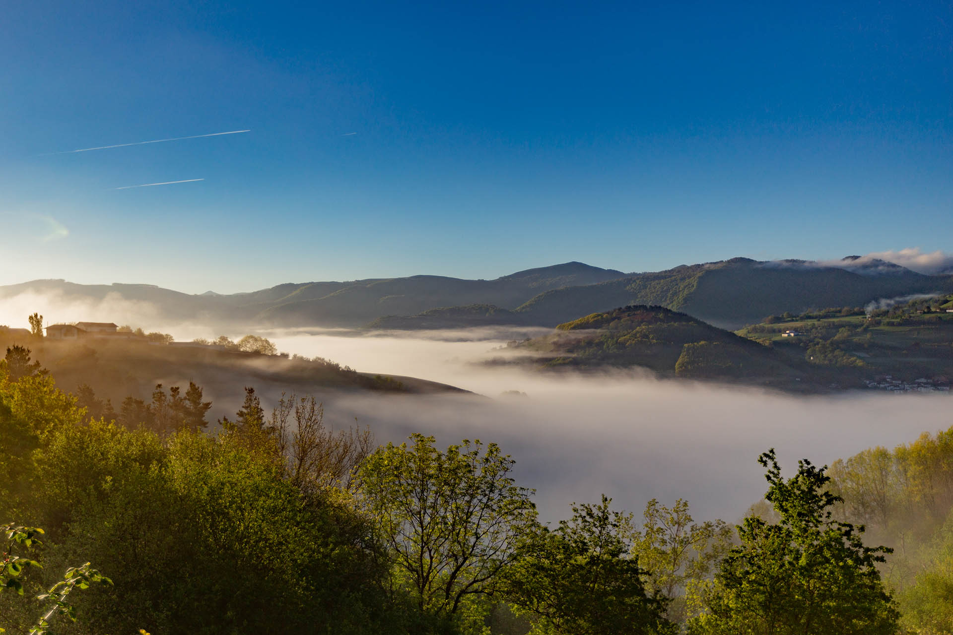 Morning mist during the walking holidays in the Pyrenees
