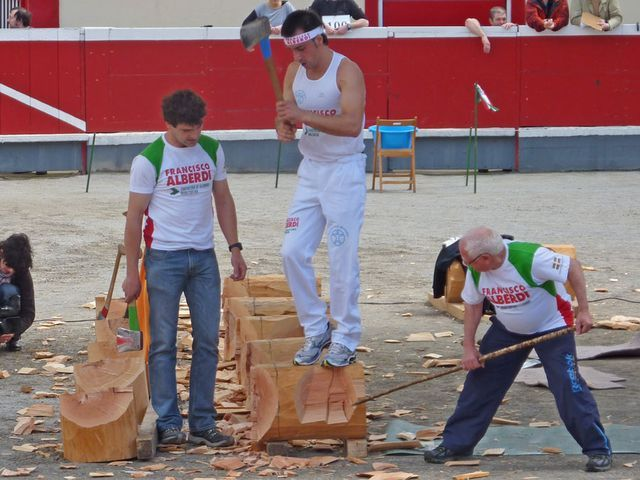 Wood chopping competitions are a popular event at festivals in the Basque Country
