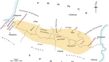 Map of the French and Spanish Pyrenees