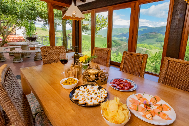 pyrenean experience welcome tapas on the terrace at our farmhouse walking centre in the Pyrenees