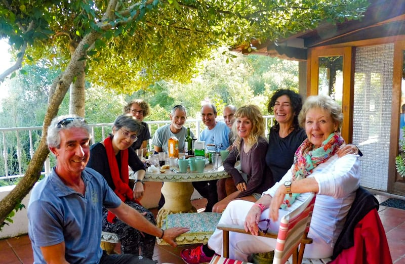 lunch with friends after a day's walking in the Spanish Pyrenees