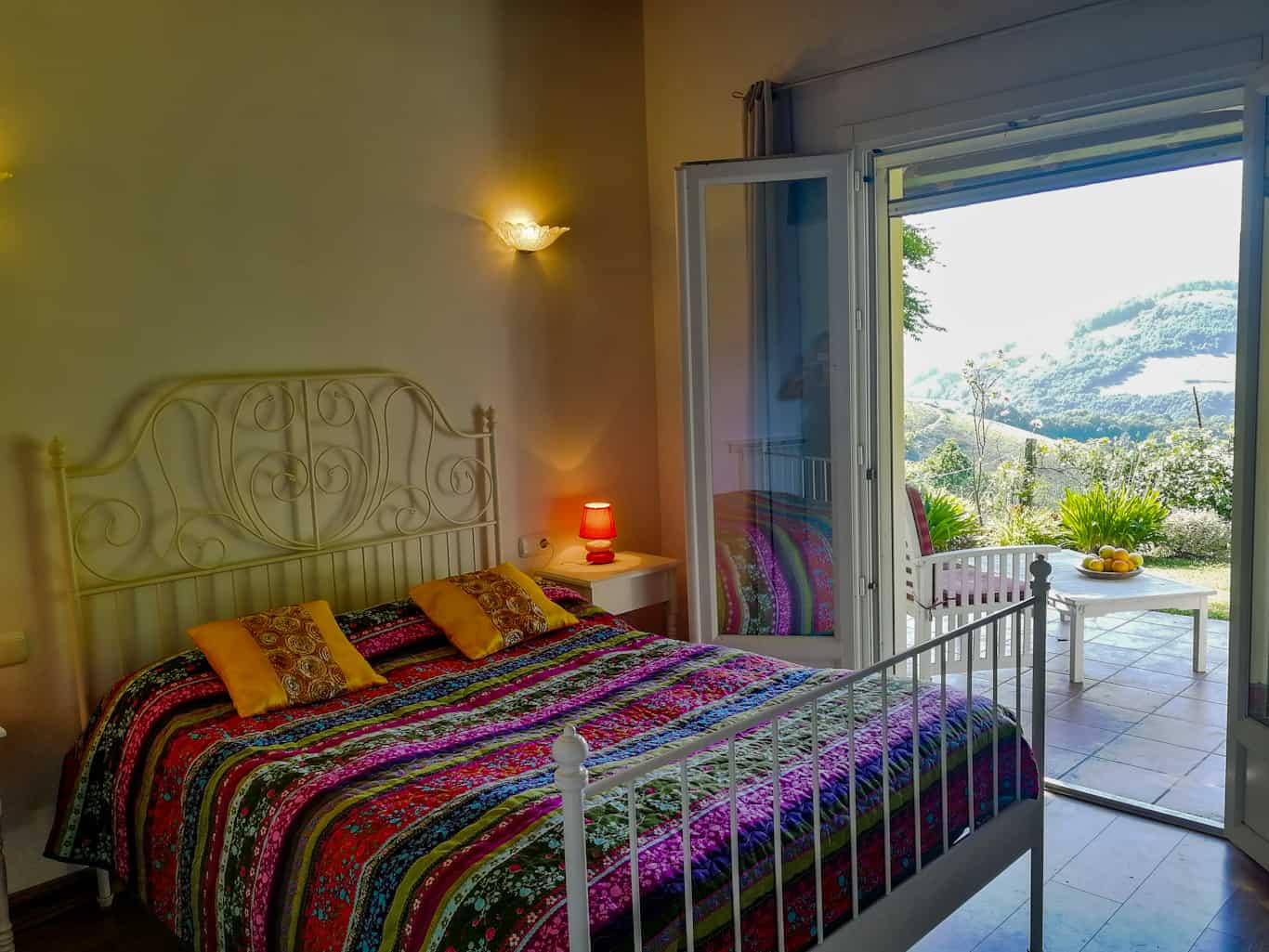 Pyrenean Experience bedroom with garden terrace in the Baztan Valley
