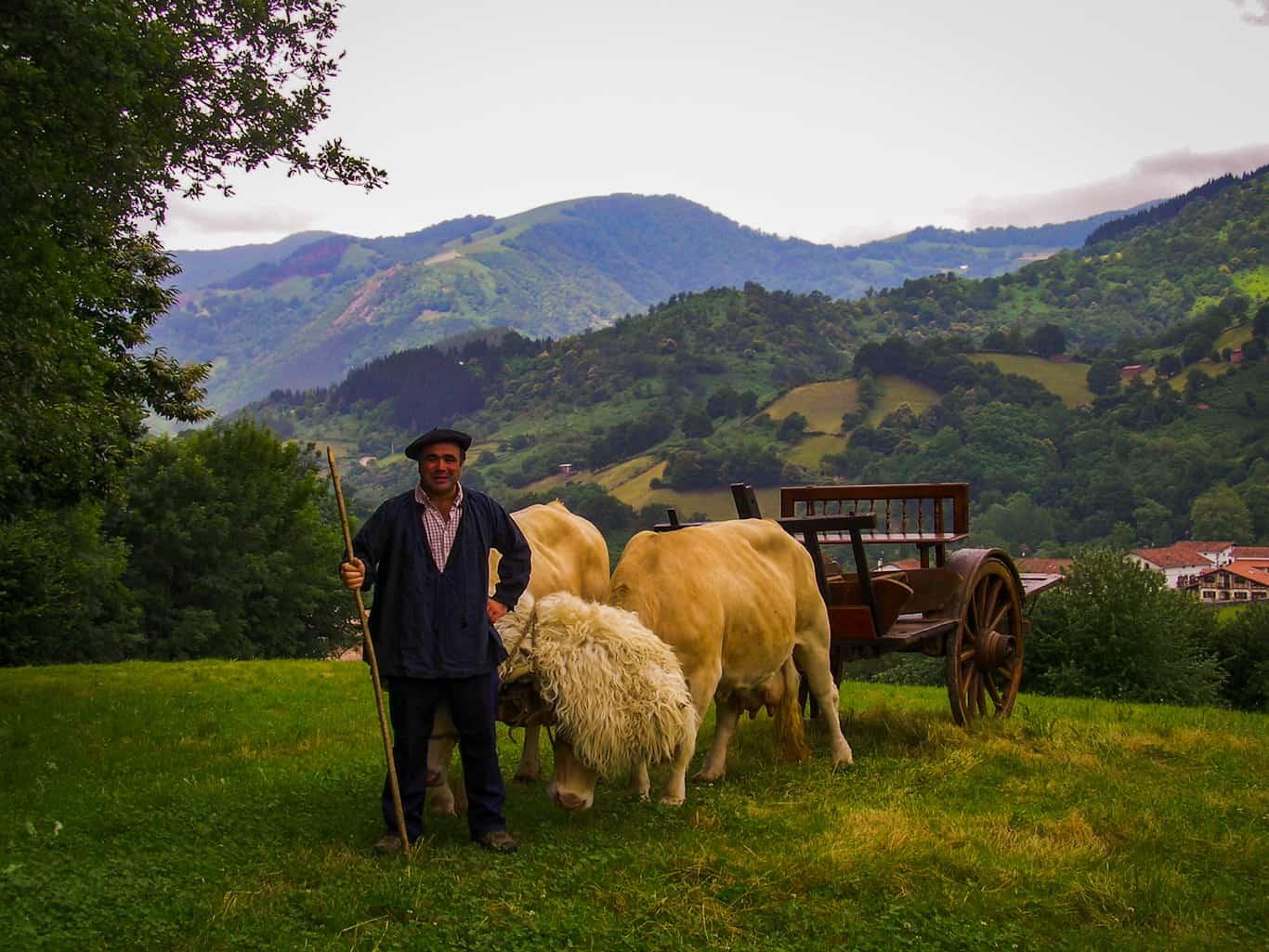 Basque ox and cart in Ituren