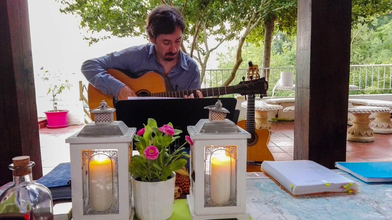 Edorta singing Basque Ballads at Pyrenean Experience guesthouse
