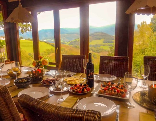 table set for dinner at pyrenean experrience